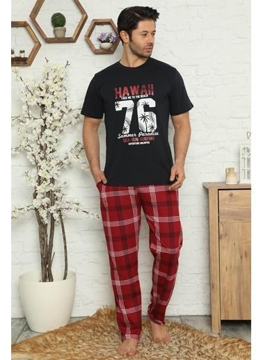Akbeniz Erkek %100 Pamuk Cepli Kısa Kollu Pijama Takımı 6729 Lacivert